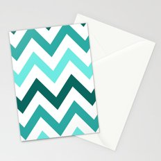 TRI-TONE TEAL CHEVRON Stationery Cards