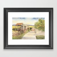 Farm Buildings By The Ro… Framed Art Print