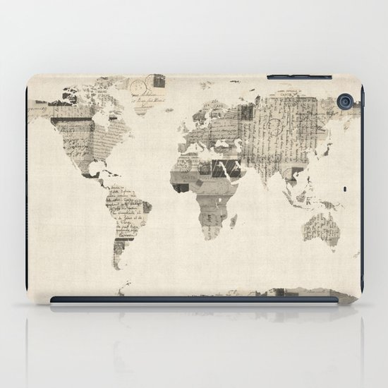 Map of the World Map from Old Postcards iPad Case