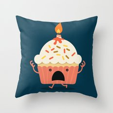 Cupcake on fire Throw Pillow