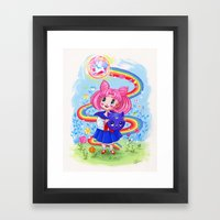 Retro Chibi Moon Framed Art Print