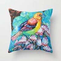 birds and mushrooms Throw Pillow