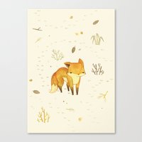 Canvas Print featuring Lonely Winter Fox by Teagan White