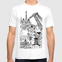 Three City Silhouettes Mens Fitted Tee White SMALL