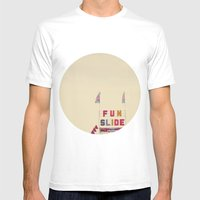 Fun Slide Mens Fitted Tee White SMALL