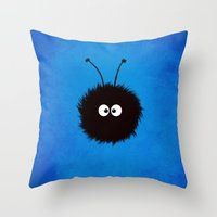 Blue Cute Dazzled Bug Throw Pillow