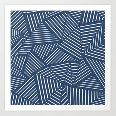 Abstraction Linear Zoom Navy Art Print