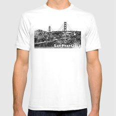 Golden Gate Bridge SMALL Mens Fitted Tee White