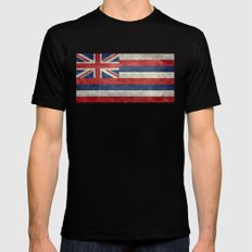 The State flag of Hawaii - Vintage version SMALL Mens Fitted Tee Black