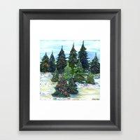 Field Of Christmas Trees Framed Art Print