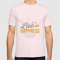 Live With Happiness Mens Fitted Tee Light Pink SMALL