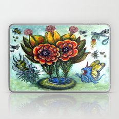Surreal watercolor flowers and bugs Laptop & iPad Skin