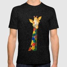 Giraffe Watercolor Print Mens Fitted Tee Tri-Black SMALL