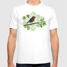 Bird in Tree White Mens Fitted Tee SMALL