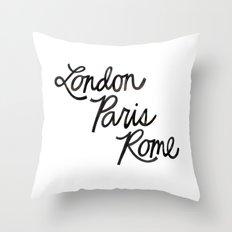 London Paris Rome Throw Pillow