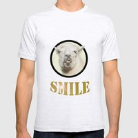 Alpaca Smile  Mens Fitted Tee Ash Grey SMALL