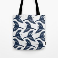 White Wagtails Pattern Tote Bag