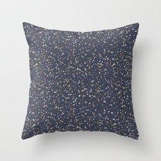 Speckles I: Dark Gold & Snow on Blue Vortex Throw Pillow