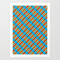 Pixel Hot Dogs Art Print