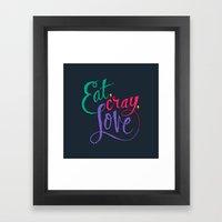 Eat, Cray, Love Framed Art Print