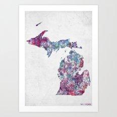 Michigan map Art Print