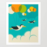 Art Print featuring FLOCK OF PENGUINS by Jazzberry Blue