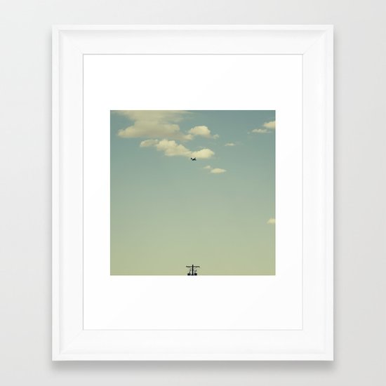Airplane, Telephone Pole Arrangement Framed Art Print