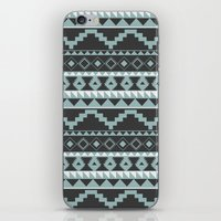 Aztec Pattern 2 Gray & Teal iPhone & iPod Skin