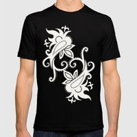 Paisley: Orange Ivory Mens Fitted Tee Black SMALL