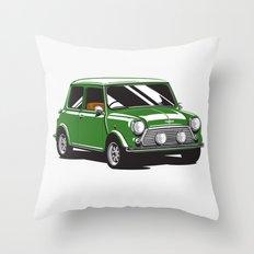 Mini Cooper Car - British Racing Green Throw Pillow