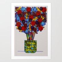 Geometric Flowers Art Print