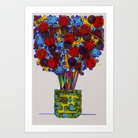 Geometric Flowers Art Print