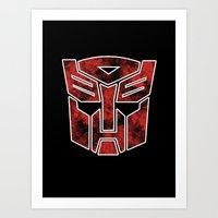 Autobots In Flames - Tra… Art Print