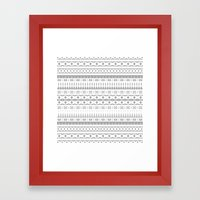 Gray Aztec Framed Art Print