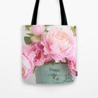 Paris Pink Peonies Bouqu… Tote Bag