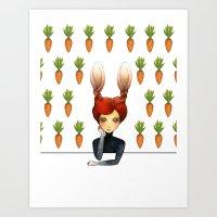 the rabbit girl with carrot wallpaper Art Print