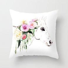Horse with flowers, Animal, painting, illustration, vintage Throw Pillow