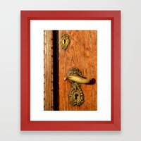 Old Oak Door With Brass Handle and Locks Framed Art Print