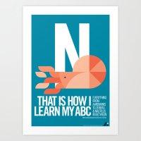Animal Alphabet N Art Print