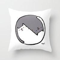 yin yang cat BW Throw Pillow
