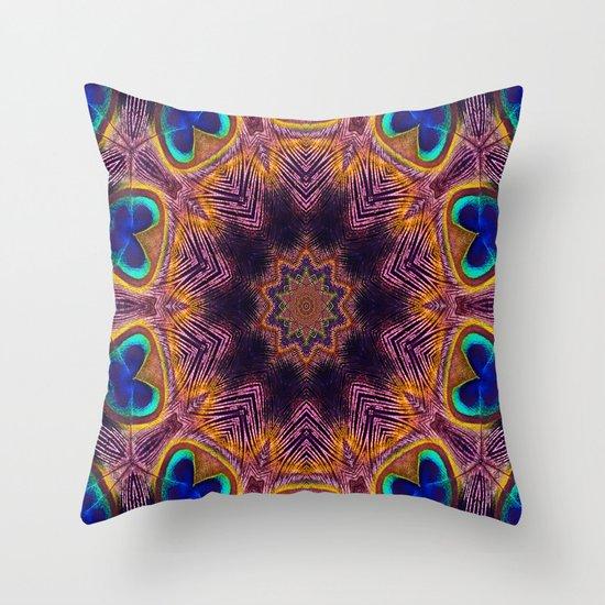 Peacock Fan Star Abstract Throw Pillow