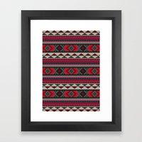 Navajo blanket pattern- red Framed Art Print