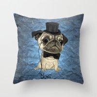 Pug; gentle pug (color version) Throw Pillow