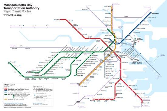 Boston Rapid Transit Map - Without Bus Routes Canvas Print
