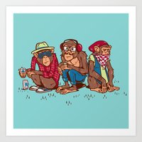 Three Wise Hipster Monke… Art Print
