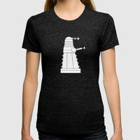 DOCTOR WHO - EXTERMINATE! Womens Fitted Tee Tri-Black SMALL