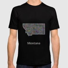 Montana Map Mens Fitted Tee Black SMALL