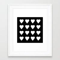16 Hearts White On Black Framed Art Print
