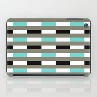 Turquoise, black & gray line pattern iPad Case