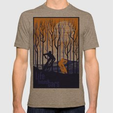 retro mountain bike poster, Life behind bars Mens Fitted Tee Tri-Coffee SMALL